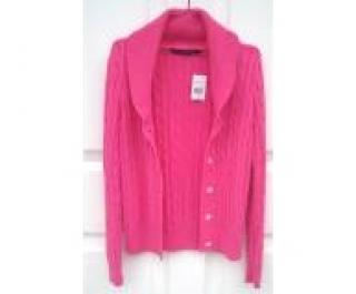 Ralph Lauren Sport Cable Knit Pink Cardigan with M