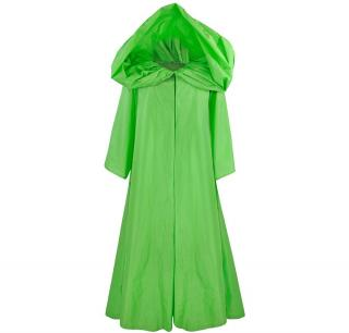 OSCAR DE LA RENTA Green Silk Taffeta Evening Cloak Coat Cape