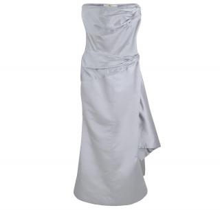 VALENTINO Silver Satin Vintage Gown Dress size UK 8