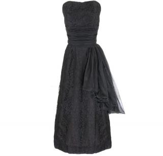 Vintage 1950s High Style Black Lace Party Dress UK 8