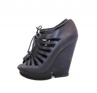YSL black platform wedges