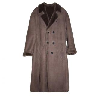 BURBERRY Prorsum Leather Brown Wool Fur Trench