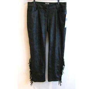 SW3 Bespoke fringed faux leather trousers