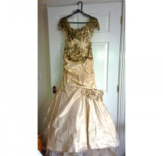 FARAGE OF PARIS GOLD SILK WEDDING GOWN