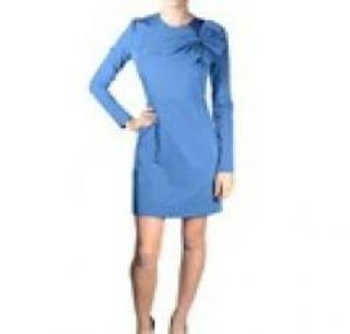 DVF DIANE VON FURSTENBERG Anneli Bow-Detail Dress OCEAN BLUE US6 UK10 NEW