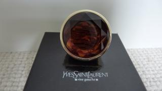 YVES SAINT LAURENT HUGE RUNWAY COUTURE RED TONE CRYSTAL & GOLD SIGNED RING
