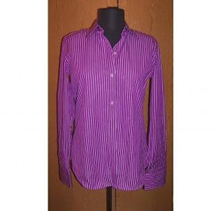 RALPH LAUREN womens purple white striped blouse NEW sz S