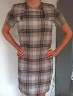 BURBERRY grey/blue wool shift dress, UK 8