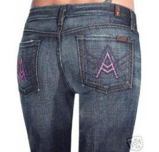 A-Pocket Flare Jeans NYD Pink Stitch 30 fits 29