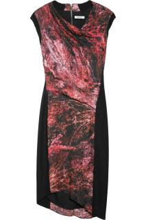 HELMUT LANG - Midnight Floral printed twill and wool dress