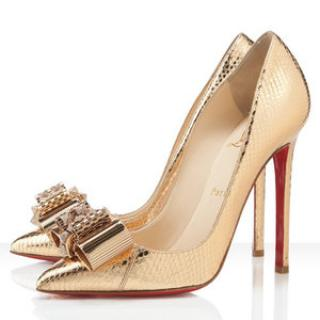 Christian Louboutin \'Nodo\' Pigalle 120 metallic watersnake pumps