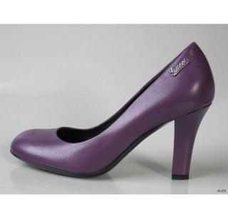 GUCCI PURPLE LEATHER PUMPS HEELS 40 WITH SILVER LO