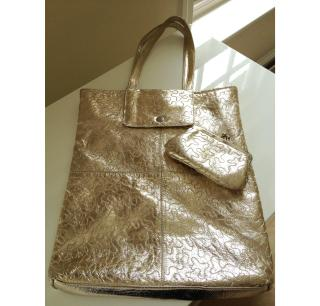 Kate Sheridan Metallic Shimmer Bag and Matching Purse with Stitch Detailing