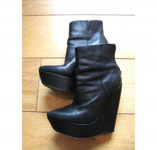 Max Azria leather wedge boots