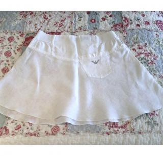 Armani Junior Pure Linen White Skirt