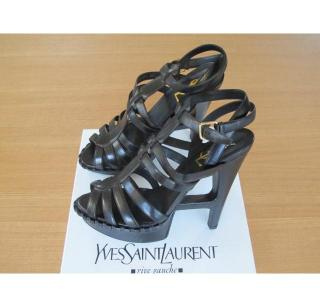 Yves Saint Laurent Essentielle Black Leather Sandals
