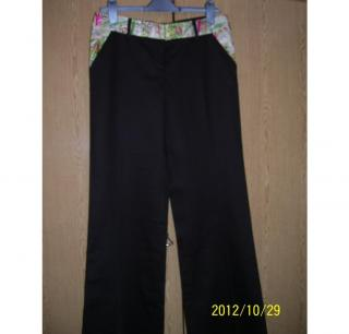 DIANE von FURSTENBERG Brown Trousers Silk and Cotton UK Sz 8